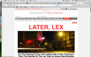 On the Closing of the Last Lesbian Bar in San Francisco: What the Demise of the Lex Tells Us About Gentrification