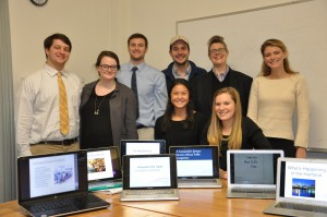 The Digital Image of the City, American Studies, Trinity College 2015. Standing, left to right: Andrew Fishman '16, Madelaine Feakins '16, Rick Naylor '16, Dalton Judd '16, Assistant Professor of American Studies Jack Gieseking, and Callie McLaughlin '16. Seated, left to right: Molly Mann '16 and Georgianna Wynn '16. CC BY-SA-NC Trinity College 2015.